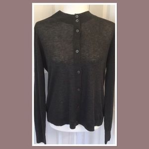 LOFT Double Button Collar Cardigan Charcoal NWT M